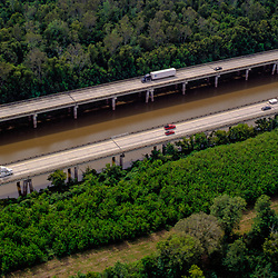 aerial view of the Atchafalaya Basin Bridge outside of New Orleans, before Katrina