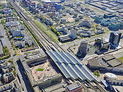 Nederland, Noord-Holland, Duivendrecht; 17-04-2021; ArenA-gebied met NS-station Bijlmer Arena.<br /> Bijlmer Arena railway station.<br /> luchtfoto (toeslag op standaard tarieven);<br /> aerial photo (additional fee required)<br /> copyright © 2021 foto/photo Siebe Swart
