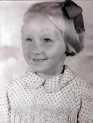 Family handout file photo of Aneira Thomas, then aged four at her primary school in Cefneithin near Ammanford, Wales, who was the first baby to be born following the formation of the National Health Service (NHS) in 1948, at one minute after midnight on July 5, 1948.