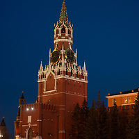 Moscow, Russia.  Clock tower beside Kremlin at Red Square.