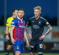 Inverness Caledonian Thistle's John Baird and Falkirk's Craig Sibbald at the end. Falkirk 3 v 1 Inverness Caledonian Thistle, Scottish Championship game played 27/1/2018 at The Falkirk Stadium.