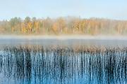 Schoolcraft Lake, morning fog, October, Hubbard County, Minnesota, USA