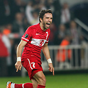 Turkey's Gokhan GONUL celebrates his goal during their UEFA EURO 2012 Qualifying round Group A soccer match Turkey between Austria at Sukru Saracoglu stadium in Istanbul on March 29, 2011. Photo by TURKPIX