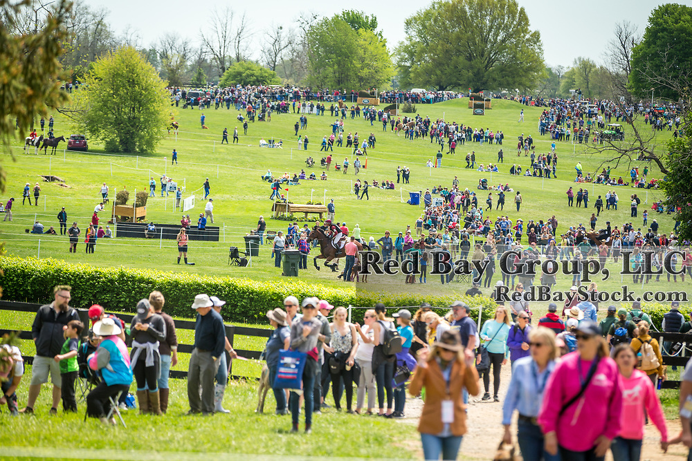 Spectators during the cross-country phase of the 2018 Land Rover Kentucky Three-Day Event in Lexington, Kentucky