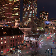 Boston's Quincy Marketplace and historic Fanuiel Hall on a May evening