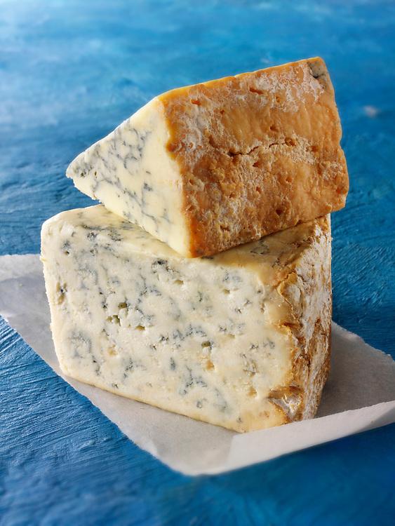 British Blue Cheese Photos -Creamy Stilton ( bottom) Stilton above. Funky Stock Photos