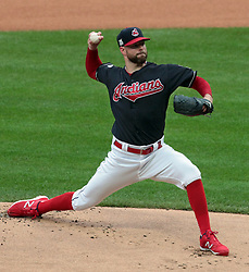 October 6, 2017 - Cleveland, OH, USA - Cleveland Indians starting pitcherCorey Kluber throws against the New York Yankees in the first inning during Game 2 of the American League Division Series, Friday, Oct. 6, 2017, at Progressive Field in Cleveland. (Credit Image: © Mike Cardew/TNS via ZUMA Wire)