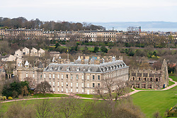 View of the place of Holyroodhouse and Regents Terrace to rear in Edinburgh, Scotland UK