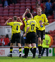 Photo. Glyn Thomas.<br /> Middlesbrough v Aston Villa. <br /> FA Barclaycard Premiership. 24/04/2004.<br /> Aston Villa's Peter Crouch (R) savours the moment after scoring his side's winning goal.
