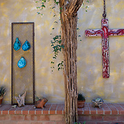 """Tucson, AZ -- 09/29/2017<br /> <br /> DeGrazia Gallery in the Sun was designed and built by acclaimed Arizona artist Ettore """"Ted"""" DeGrazia. The gallery/museum was constructed in 1965 with details including cactus flooring, exposed wood beams, rafters and unique artistic finishes.<br /> <br /> Photography by Jill Richards"""