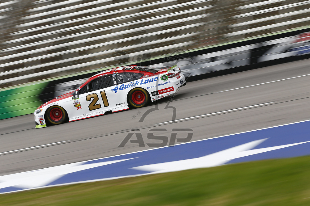 November 03, 2017 - Ft. Worth, Texas, USA: Ryan Blaney (21) takes to the track to practice for the AAA Texas 500 at Texas Motor Speedway in Ft. Worth, Texas.