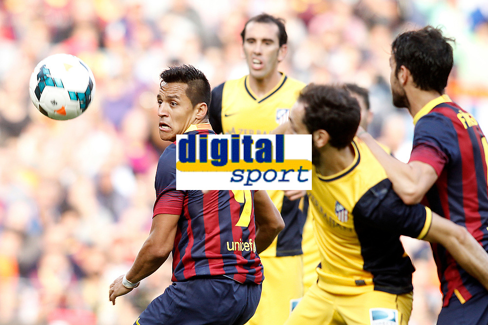 FC Barcelona's Alexis Sanchez (l) and Cesc Fabregas (r) and Atletico de Madrid's Diego Godin (c-l) and Juanfran Torres (c-r) during La Liga match.May 17,2014. (ALTERPHOTOS/Acero)