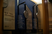 A detailed view of the 2018 Big Ten Regular Season Championship trophy sitting in the lobby of the Donald R. Shepherd Women's Gymnastic Center on February 23, 2019 in Ann Arbor, Michigan.