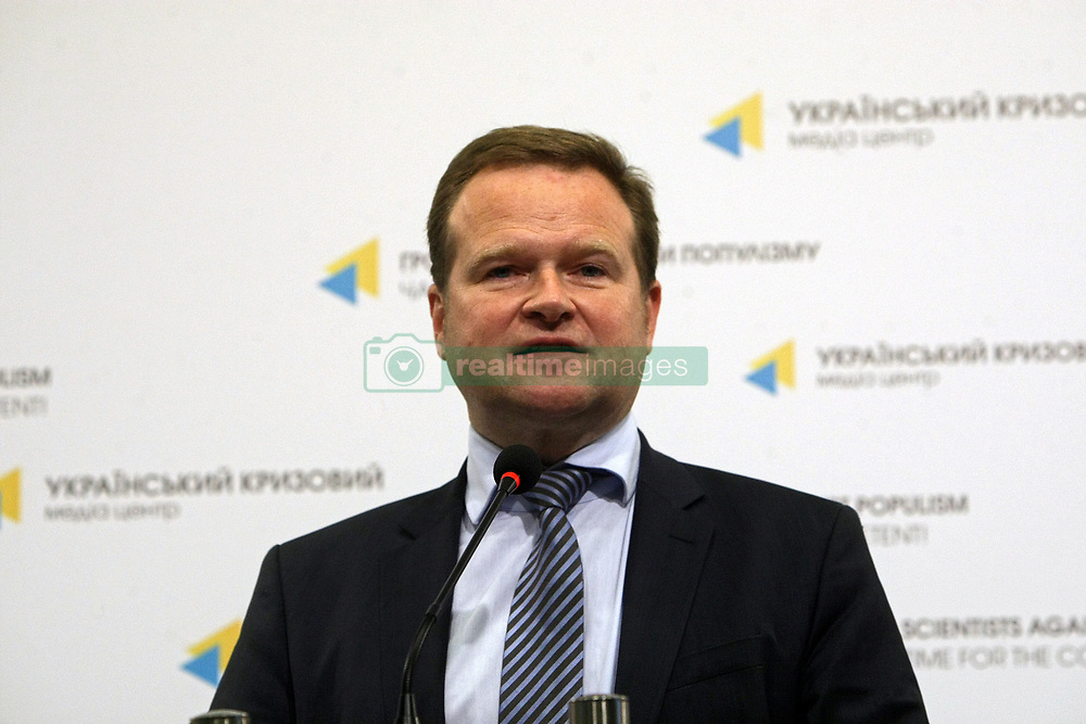 October 31, 2018 - Kyiv, Ukraine - Spokesperson for human rights and humanitarian aid of the SPD Parliamentary Group in the German Bundestag Frank Schwabe holds a news conference, Kyiv, capital of Ukraine, October 31, 2018. Ukrinform. (Credit Image: © Ovsyannikova Yulia/Ukrinform via ZUMA Wire)