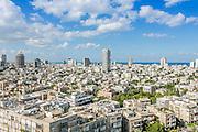 Elevated view of rooftops, Tel Aviv, Israel