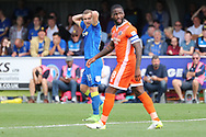 Shrewsbury Town defender Zak Jules (18) with hands on head during the EFL Sky Bet League 1 match between AFC Wimbledon and Shrewsbury Town at the Cherry Red Records Stadium, Kingston, England on 12 August 2017. Photo by Matthew Redman.