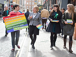© Licensed to London News Pictures. 01/05/2015. London, UK. Natalie Bennett, centre, and deputy leader Amelia Womack (2nd right) launch Green Party's LGBTIQ manifesto today in Soho, central London. Ms Bennett announced Green pledges to review the discriminatory blood ban and introduce LGBTIQ-inclusive sex education. Photo credit: LNP