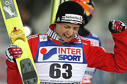 Third placed Simon Ammann of Switzerland at Normal Hill Individual Ski jumps at FIS Nordic World Ski Championships Liberec 2008, on February 21, 2009, in Jested, Liberec, Czech Republic. (Photo by Vid Ponikvar / Sportida)