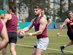 April 2, 2018 - Hong Kong, Hong Kong SAR, CHINA - HONG KONG,HONG KONG SAR,CHINA:April 2nd 2018. The Irish rugby team conduct a training session at Kings Park ahead of their Hong Kong Rugby 7's qualifiers. 7's veteran, Ian Fitzpatrick, receives the ball (Credit Image: © Jayne Russell via ZUMA Wire)