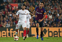 October 20, 2018 - Barcelona, Catalonia, Spain - Eber Banega and Sergio Busquets during the match between FC Barcelona and Sevilla CF, corresponding to the week 9 of the Liga Santander, played at the Camp Nou, on 20th October 2018, in Barcelona, Spain. (Credit Image: © Joan Valls/NurPhoto via ZUMA Press)