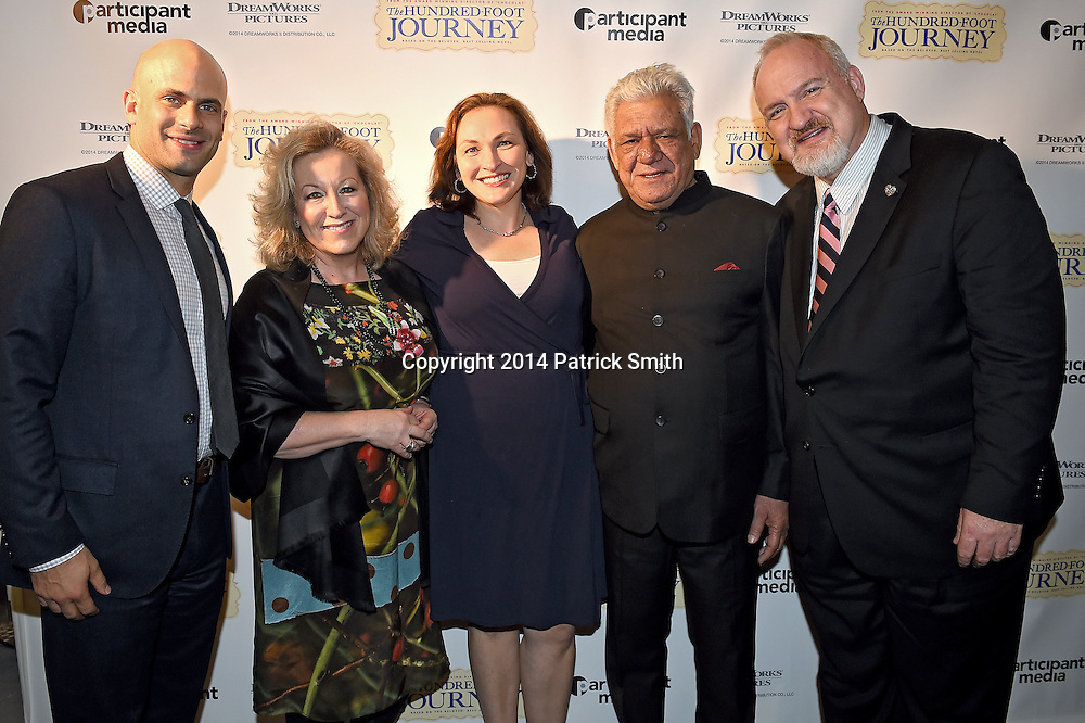 """Participant Media and DreamWorks teamed-up with the U.S. Department of State's Diplomatic Culinary Partnership to celebrate the December 2nd Blu-ray and Digital release of """"The Hundred Foot Journey"""" with   reception, screening and panel to emphasize the powerful role that food can play in diplomacy. Pictured is (left to right), Executive Director of Let's Move! and Senior Policy Advisor for Nutrition Policy for the White House, Sam Kass, producer of """"The Hundred Foot Journey"""" Juliet Blake,<br /> food writer Mary Beth Albright, Om Puri """"Papa"""" from """"The Hundred Foot Journey"""" and Chef Art Smith, whom was Oprah Winfrey's personal chef for over ten years."""