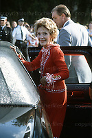President Ronald Reagan's wife Nancy Reagan seen during a visit to the Guards Polo Club, Windsor, UK in July 1981. Photograph by Jayne Fincher