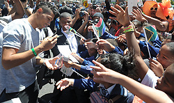 Cape Town 161017-  Wayde Van Niekerk greeting supporters at City Hall before proceeding to Green Point stadium . This is part of the celebration after taking part in Olympics. Picture Cindy Waxa/Reporter Zodidi/Argus