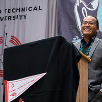Buu Nygren, vice presidential candidate for Joe Shirley Jr. participates in a debate with Myron Lizer at the Navajo Nation Presidential Candidates Debate Tuesday, Oct. 16, 2018 at Navajo Technical University in Crownpoint.