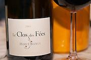 Domaine Le Clos des Fees. Roussillon. France. Europe. Bottle. Wine glass.