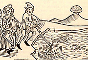 Diving bell supposed to have been used by Alexander the Great (356-323 BC). Woodcut from a 15th century edition of 'The History of Alexander the Great'.