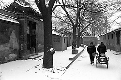 Old hutong in the snow in Beijing China