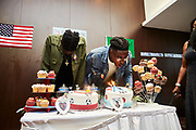 CLONDALKIN, IRELAND - August 17, 2018:  Aidan blows out the candles on his 18th birthday with his family and friends.<br /> <br /> Photo by: Johnnie Izquierdo