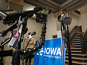 07 FEBRUARY 2020 - DES MOINES, IOWA: The Iowa Democratic Party sign behind microphones before a press conference Friday about the results of the Iowa caucuses, which took place Monday night, February 3. The results tally was delayed on caucus night because of unexpected problems with the reporting app. Troy Price, chair of the IDP, announced that Pete Buttigieg finished with a tiny lead over Bernie Sanders and that presidential campaigns would have until Monday February 10 to request a recanvass of caucus results.       PHOTO BY JACK KURTZ