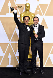 March 4, 2018 - Los Angeles, California, USA - 3/4/18.Bryan Fogel and Dan Cogan winners of the award for Best Documentary Feature for ''Icarus'' at the 90th Annual Academy Awards (Oscars) presented by the Academy of Motion Picture Arts and Sciences..(Hollywood, CA, USA) (Credit Image: © Starmax/Newscom via ZUMA Press)