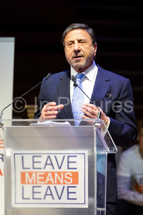 Sir Rocco Forte speaking at a 'Brexit:Let's Go WTO Rally' organised by the Leave Means Leave campaign in Westminster, London, UK on January 17, 2019 where leading business and political Brexiteers discussed why WTO rules will allow Great Britain to thrive outside the European Union after Brexit.