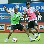Besiktas's new Portuguese forward Bebe (Tiago Manuel Dias Correia) (L) during their new season training at BJK Nevzat Demir training center in Istanbul, Turkey, 30 June 2011. Photo by TURKPIX
