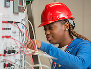 Students work with process technology equipment at Kashmere High School, October 10, 2014.