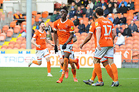 Blackpool's Armand Gnanduillet celebrates scoring his side's second goal <br /> <br /> Photographer Kevin Barnes/CameraSport<br /> <br /> The EFL Sky Bet Championship - Blackpool v Peterborough United - Saturday 2nd November 2019 - Bloomfield Road - Blackpool<br /> <br /> World Copyright © 2019 CameraSport. All rights reserved. 43 Linden Ave. Countesthorpe. Leicester. England. LE8 5PG - Tel: +44 (0) 116 277 4147 - admin@camerasport.com - www.camerasport.com
