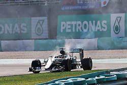 Lewis Hamilton (GBR) Mercedes AMG F1 W07 Hybrid retired from the race with a blown engine.<br /> 02.10.2016. Formula 1 World Championship, Rd 16, Malaysian Grand Prix, Sepang, Malaysia, Sunday.<br /> Copyright: Moy / XPB Images / action press