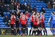 Didier Ndong of Sunderland (l) is shown red card and sent off by referee Andrew Madley after a bad tackle/foul on Junior Hoilett of Cardiff city , EFL Skybet championship match, Cardiff city v Sunderland at the Cardiff city stadium in Cardiff, South Wales on Saturday 13th January 2018.<br /> pic by Andrew Orchard, Andrew Orchard sports photography.