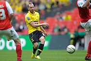 Burton Albion's Adam McGurk taking a shot on goal . Skybet football league two play off final match , Burton Albion v Fleetwood Town at Wembley Stadium in  London on Monday 26th May 2014.<br /> pic by John Patrick Fletcher, Andrew Orchard sports photography.