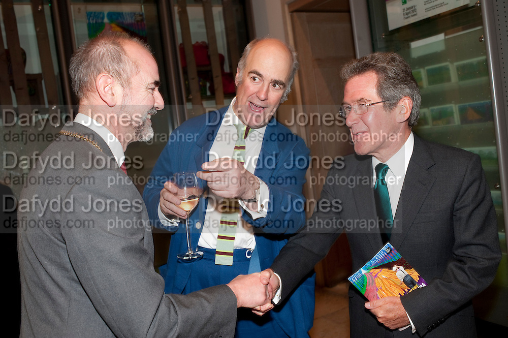 CHRISTOPHER LE BRUN; CHARLES SAUMERAZ-SMITH; LORD BROWNE, Opening of David Hockney ' A Bigger Picture' Royal Academy. Piccadilly. London. 17 January 2012