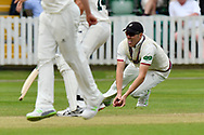 Not Out? - Craig Overton of Somerset takes a catch on the ground from Luke Fletcher of Nottinghamshire which was ruled not out during the Specsavers County Champ Div 1 match between Somerset County Cricket Club and Nottinghamshire County Cricket Club at the Cooper Associates County Ground, Taunton, United Kingdom on 10 June 2018. Picture by Graham Hunt.