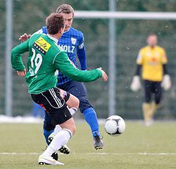 14.01.2012, Stadion Ried alt, Ried im Innkreis, AUT, 1.FBL, SV Josko Ried vs SV Scholz Groedig, im Bild (v.l.n.r.) Emanuel Schreiner, (SV Josko Ried, #19) und Peter Riedl, (SV Scholz Groedig, #13), EXPA Pictures © 2012, PhotoCredit: EXPA/ R. Hackl