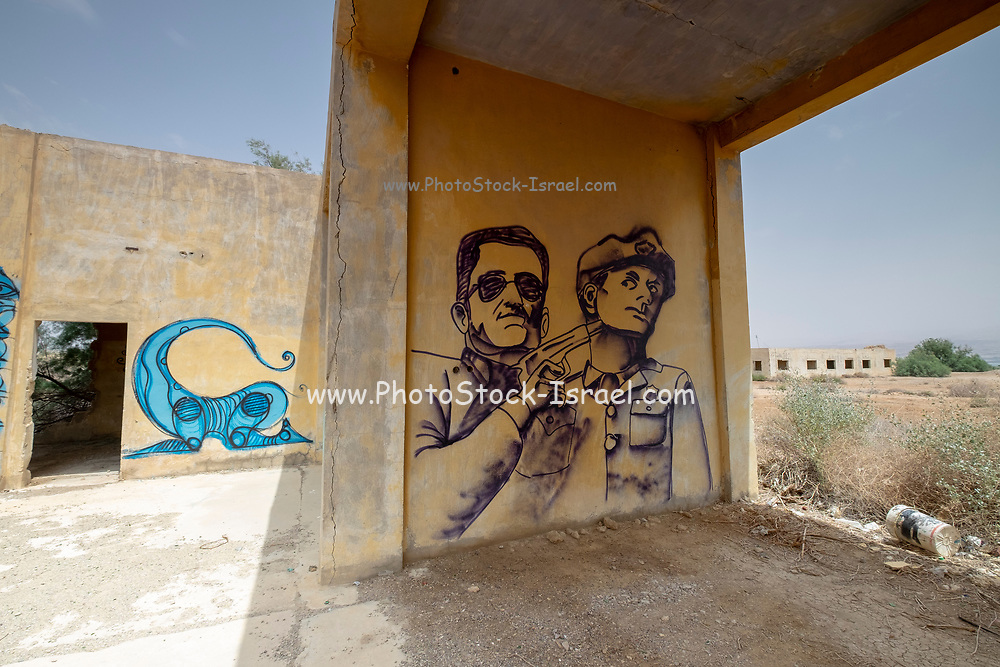 Israel, Sdom, The old Dead Sea Works factory and living quarters, abandoned in 1949. The new plant was build further south. Now covered in Graffiti