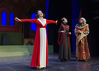 Kelley Davies as Snow White with Queen Belladonna and King Stanley Ursula Minich Boutwell and Ken Chapman during Tuesday afternoons dress rehearsal at Winnipesaukee Playhouse.  (Karen Bobotas/for the Laconia Daily Sun)