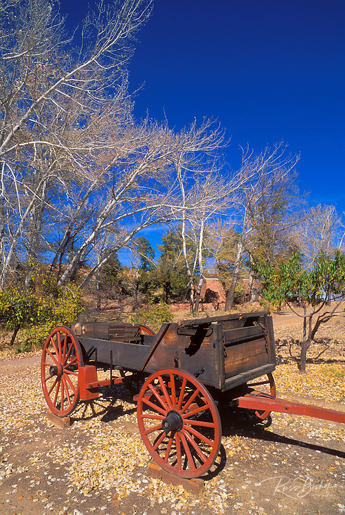 Wagon and fruit trees in the orchard at Pipe Spring, Pipe Spring National Monument, Arizona