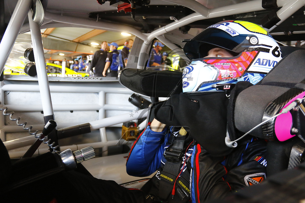 October 28, 2017 - Martinsville, Virginia, USA: Trevor Bayne (6) straps into his car to practice for the First Data 500 at Martinsville Speedway in Martinsville, Virginia.