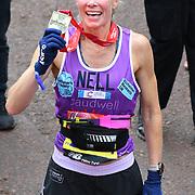 London, England, UK. 28 April 2019. Nell McAndrew finish the Virgin Money London Marathon at Pall Mall.