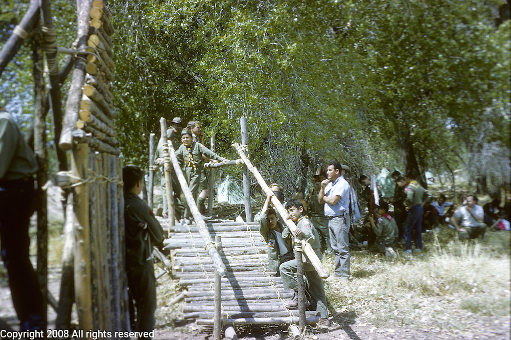 Boy scouts of Troop 123 participate in a 1965 camporee at Sandia Reservation in New Mexico.